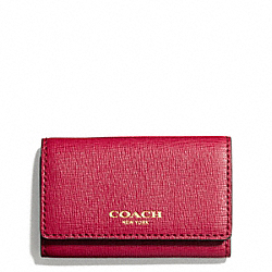 COACH SAFFIANO LEATHER 6 RING KEY CASE - BRASS/SCARLET - F49745