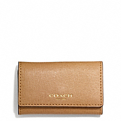COACH SAFFIANO LEATHER 6 RING KEY CASE - BRASS/TOFFEE - F49745