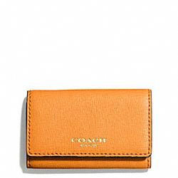 COACH 6 RING KEY CASE IN SAFFIANO LEATHER - LIGHTGOLD/BRIGHT MANDARIN - F49745