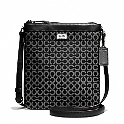 COACH MADISON SWINGPACK IN OP ART NEEDLEPOINT FABRIC - SILVER/BLACK - F49746