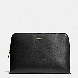 COACH COSMETIC CASE IN SAFFIANO LEATHER - BRASS/BLACK - F49748