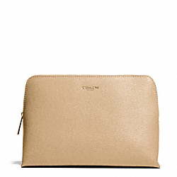 COACH COSMETIC CASE IN SAFFIANO LEATHER - LIGHT GOLD/TAN - F49748