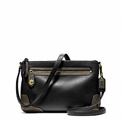COACH POPPY COLORBLOCK LEATHER EAST/WEST SWINGPACK - BRASS/BLACK - F49751