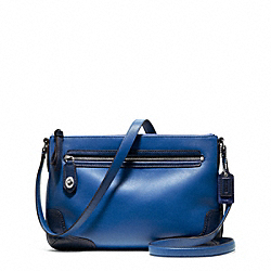 COACH POPPY COLORBLOCK LEATHER EAST/WEST SWINGPACK - SILVER/VICTORIAN BLUE - F49751