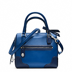 COACH POPPY COLORBLOCK LEATHER MINI SATCHEL - SILVER/VICTORIAN BLUE - F49757