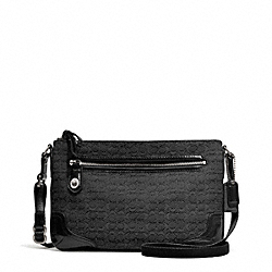 COACH POPPY SIGNATURE C MINI OXFORD EAST/WEST SWINGPACK - SILVER/BLACK/BLACK - F49776