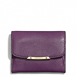 COACH MADISON LEATHER FLAP CARD CASE - LIGHT GOLD/BLACK VIOLET - F49779