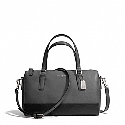 COACH SAFFIANO COLORBLOCK LEATHER MINI SATCHEL - SILVER/CHARCOAL/BLACK - F49786
