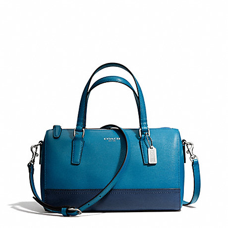 COACH f49786 SAFFIANO COLORBLOCK LEATHER MINI SATCHEL SILVER/DARK PLUME/NAVY