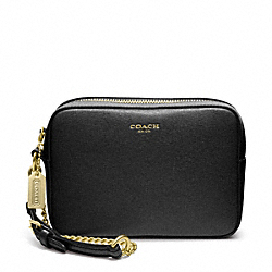 COACH SAFFIANO LEATHER FLIGHT WRISTLET - BRASS/BLACK - F49790