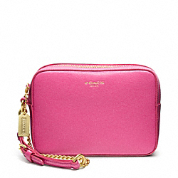 COACH SAFFIANO LEATHER FLIGHT WRISTLET - BRASS/PINK - F49790