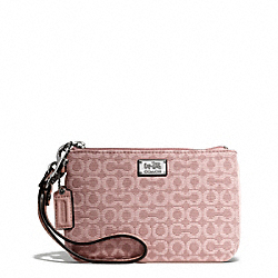 COACH MADISON NEEDLEPOINT OP ART SMALL WRISTLET - SILVER/TEAROSE 2 - F49793