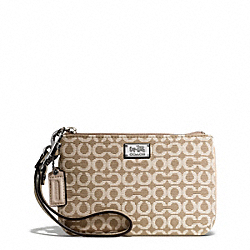 COACH MADISON NEEDLEPOINT OP ART SMALL WRISTLET - SILVER/WARM KHAKI - F49793