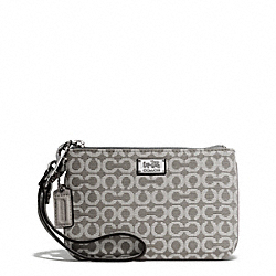 COACH MADISON NEEDLEPOINT OP ART SMALL WRISTLET - SILVER/LIGHT GREY - F49793