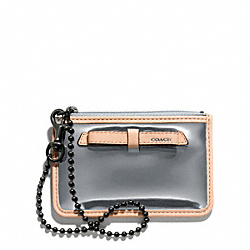 COACH POPPY MIRROR METALLIC ID SKINNY - PEWTER/PEWTER - F49804
