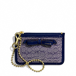 COACH POPPY SIGNATURE C MINI OXFORD ID SKINNY - BRASS/NAVY - F49821
