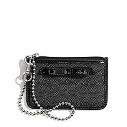 COACH POPPY SIGNATURE C MINI OXFORD ID SKINNY - SILVER/BLACK/BLACK - F49821