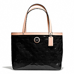 SIGNATURE STRIPE EMBOSSED PATENT TOP HANDLE TOTE - f49826 - SILVER/BLACK/TAN