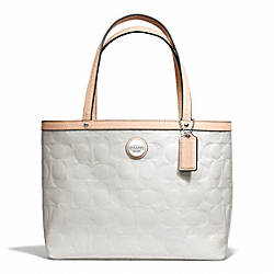 COACH SIGNATURE STRIPE EMBOSSED PATENT TOP HANDLE TOTE - SILVER/WHITE/TAN - F49826