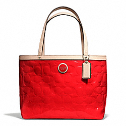 COACH SIGNATURE STRIPE EMBOSSED PATENT TOP HANDLE TOTE - ONE COLOR - F49826