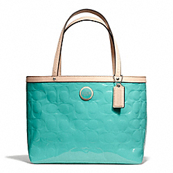 COACH SIGNATURE STRIPE EMBOSSED PATENT TOP HANDLE TOTE - SILVER/JEWEL GREEN/TAN - F49826