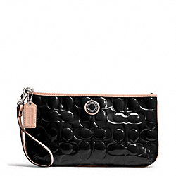 COACH SIGNATURE STRIPE EMBOSSED PATENT LARGE WRISTLET - SILVER/BLACK/TAN - F49827