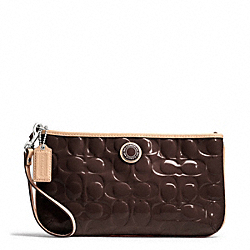 SIGNATURE STRIPE EMBOSSED PATENT LARGE WRISTLET - f49827 - SILVER/BROWN/TAN