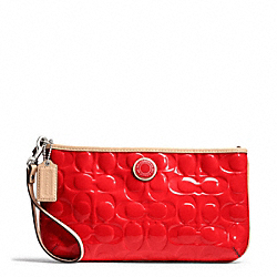 COACH SIGNATURE STRIPE EMBOSSED PATENT LARGE WRISTLET - ONE COLOR - F49827