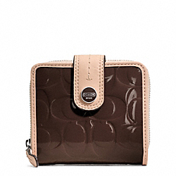 COACH SIGNATURE STRIPE EMBOSSED PATENT SLIM MEDIUM WALLET - SILVER/BROWN/TAN - F49828