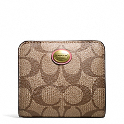 COACH PEYTON SIGNATURE SMALL WALLET - BRASS/KHAKI/CORAL - F49859