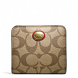 COACH PEYTON SIGNATURE SMALL WALLET - BRASS/KHAKI/RED - F49859