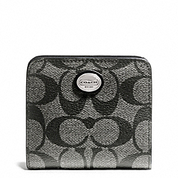 COACH PEYTON SIGNATURE SMALL WALLET - SILVER/BLACK/WHITE/BLACK - F49859