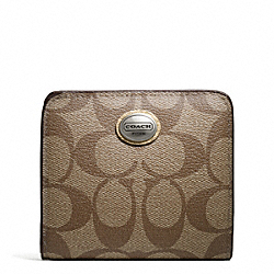 COACH PEYTON SIGNATURE SMALL WALLET - SILVER/KHAKI/GOLD - F49859
