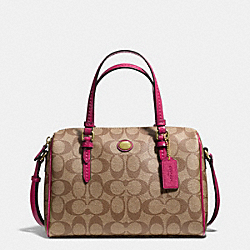 COACH PEYTON SIGNATURE BENNETT MINI SATCHEL - IM/KHAKI/BERRY - F49862