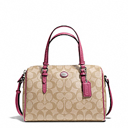 COACH PEYTON SIGNATURE BENNETT MINI SATCHEL - SILVER/LT KHAKI/STRAWBERRY - F49862