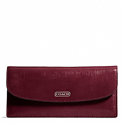 COACH DARCY PATENT LEATHER SOFT WALLET - SILVER/BURGUNDY - F49876