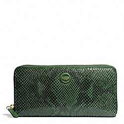COACH SIGNATURE STRIPE EMBOSSED EXOTIC ACCORDION ZIP - BRASS/GREEN - F49878