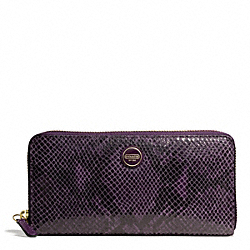 COACH SIGNATURE STRIPE EMBOSSED EXOTIC ACCORDION ZIP - BRASS/PURPLE - F49878