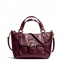 COACH CAMPBELL LEATHER MINI TOTE CROSSBODY - BRASS/BORDEAUX - F49882