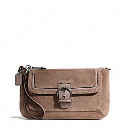 CAMPBELL SUEDE BUCKLE CLUTCH - SILVER/FLINT - COACH F49886