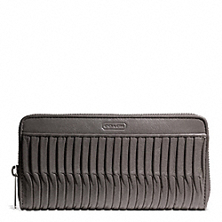 COACH TAYLOR GATHERED LEATHER ACCORDION ZIP - SILVER/GREY - F49889