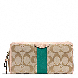 COACH SIGNATURE STRIPE ACCORDION ZIP WALLET - BRASS/KHAKI/EMERALD - F49892