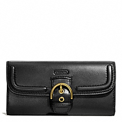 COACH CAMPBELL LEATHER BUCKLE SLIM ENVELOPE - BRASS/BLACK - F49897