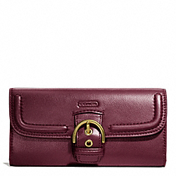 COACH CAMPBELL LEATHER BUCKLE SLIM ENVELOPE - BRASS/BORDEAUX - F49897