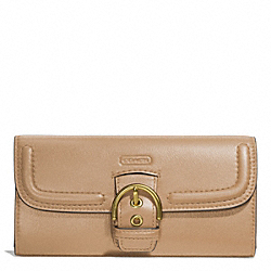COACH CAMPBELL LEATHER BUCKLE SLIM ENVELOPE - BRASS/CAMEL - F49897