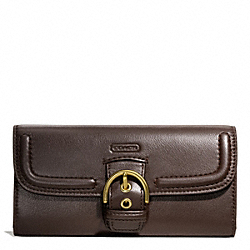 COACH CAMPBELL LEATHER BUCKLE SLIM ENVELOPE - BRASS/MAHOGANY - F49897