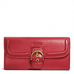 COACH CAMPBELL LEATHER BUCKLE SLIM ENVELOPE - BRASS/CORAL RED - F49897