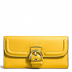 CAMPBELL LEATHER BUCKLE SLIM ENVELOPE - BRASS/SUNFLOWER - COACH F49897