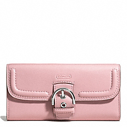 COACH CAMPBELL LEATHER BUCKLE SLIM ENVELOPE - SILVER/PINK TULLE - F49897
