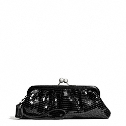 COACH OCCASION SEQUIN FRAMED BAG - SILVER/BLACK - F49900